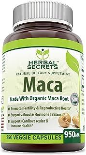 Herbal Secrets Organic Maca 950 mg, 250 Veggie Capsules (Non-GMO) - Gelatinized for Enhanced Bioavailability - Supports He...