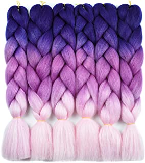 Ombre Braiding Hair Kanekalon Braiding Hair Synthetic Hair Extensions for Braiding Crochet Twist Box Braids 24 Inch 3 Tone Royal Blue to Hot Pink to Pink 6 Packs Jumbo Braiding Hair