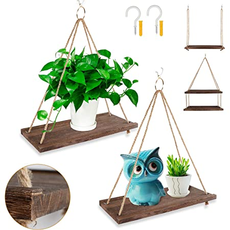 Details about  /Premium Wood Swing Hanging Rope Wall Mounted Shelves Plant Flower Pot Rack