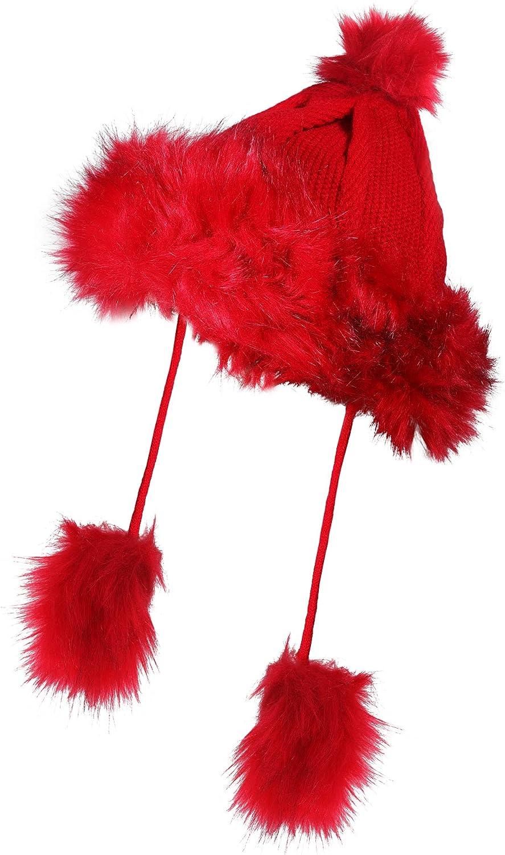 ZLYC Women Winter Faux Fur Beanie Hat Knit Pompom Ski Cap Bomber Hats for Girls