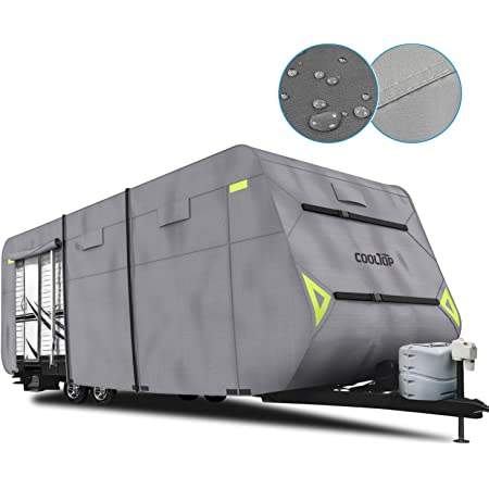 360L*105W*108H by Toiles VR 27 Feet-30 Feet Light Grey |Exceptional Polypropylene Weather Protected Fabric System | Ultimate Heavy Duty Heat Shield Camping Trailer Waterproof Cover Breathable Fits