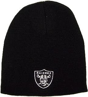 Reebok Oakland Raiders Uncuffed Embroidered Logo Winter Knit Beanie Hat - Black