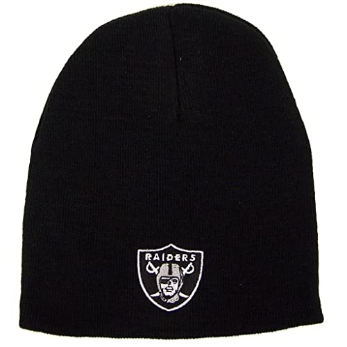 outlet store e6757 308e3 Reebok Oakland Raiders Uncuffed Embroidered Logo Winter Knit Beanie Hat -  Black