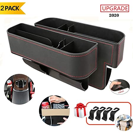 BLACK 2 pcs Seat Gap Console Organizer Box For Coin Collect /& Cup Holder