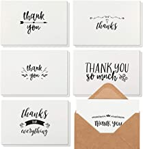Best Paper Greetings 48 Thank You Notes with Brown Kraft Envelopes, Thank You Cards Set, Blank Inside, Handwritten Style for Baby Showers & Wedding