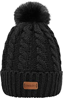 OMECHY Women's Winter Knit Hat Trendy Slouchy Beanie with Warm Fleece Lining Skull Chunky Soft Thick Cable Ski Cap in 5 Color