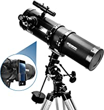 Telescope, Polaris 130EQ Newtonian Professional Astronomical Reflector Telescope Comes with Cellphone Adapter with 1.5X Barlow Lens & 1.25-Inch 13 Percent Transmission Moon Filter