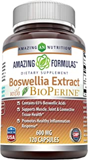 Amazing Formulas Boswellia Extract - 600mg (Standardized to Contain 65% Boswellic Acids),120 Capsules - Contains 65% Boswellic Acids, Supports Muscle, Joint & Connective Tissue Health