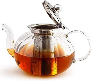 قوری شیشه ای IwaiLoft با اینفوزر ، کتری چای ایمن Stovetop ، چای ساز گلدار و شل Iwi-Gt408 (40OZ ، قوری ایمن Stovetop با تزریق قابل جابجایی)