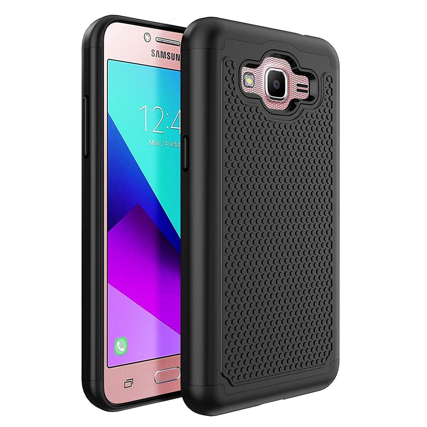 CSCOOL-Galaxy J2 Prime Case, Galaxy Grand Prime Plus Case [Shock-Absorption&Built in TPU&Camera Protection] Hybrid Dual Layer Rugged Armor Shockproof Protective Phone Case-Black