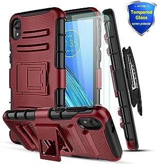GCION Compatible Motorola Moto E6 Case,Moto E6 Phone Case,W[Tempered Glass Screen Protector][Built-in Kickstand],Heavy Duty Dual Layer Kickstand Case,Shockproof Soft TPU Interior+ Hard PC Cover-PC Red
