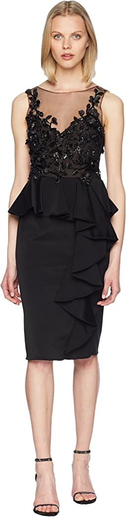 Marchesa Notte - Sleeveless Embroidered Stretch Faille Cocktail w/ 3D Beading and Ruffles