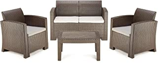 PAMAPIC 4 Piece Outdoor Patio Furniture Sets, All Weather Chair with Washable Cushion & Coffee Imitation Wood Table Top, in a Propylene Resin Plastic Wicker Pattern【Grey Cushions】 Brown