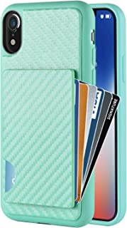 ZVEdeng iPhone XR Wallet Case, iPhone XR Card Holder Case, Shockproof Credit Card Case with Carbon Fiber Card Clip Protective Slim Card Grip Case Cover for Apple iPhone XR 6.1 Inch 2018 Mint Green