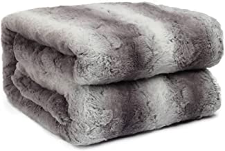 HoroM Faux Fur Throw Blanket Cozy Warm Fluffy Soft Plush Fuzzy Fleece Sherpa Blankets for Bed or Couch (60
