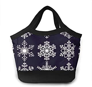 Lunch Bag Reusable Insulated Different Snowflake Pattern Portable Lunch Tote Bag with Zip for Women
