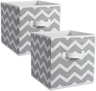 "DII Chevron Storage Bin, Large 13x13x13"", Gray, 2 pieces"