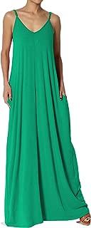 Casual Beach V-Neck Draped Soft Jersey Cami Long Maxi Dress with Pocket