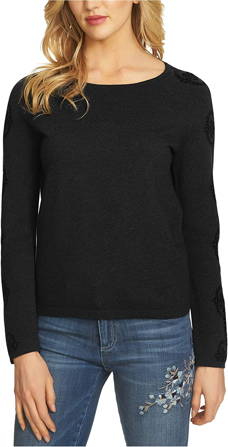 Cece Womens Printed Sleeve Knit Sweater