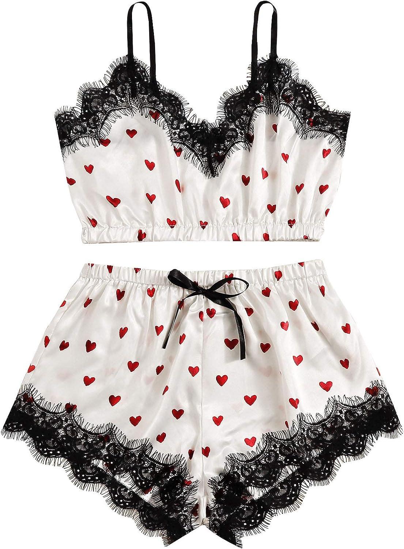 Milumia Women Cute Heart Print Eyelash Lace Pajamas Set Satin Cami Shorts PJs Sleepwear Nightwear