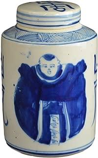 Festcool Antique Style Blue and White Porcelain Good Luck Ceramic Covered Jar Vase, China Ming Style, Jingdezhen (LJ3)