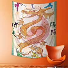 jjdncjdhf11 Mandala Tapestry Celestial Wall Decor Collection Asian Theme Chinese Dragon with Martial Arts Figures Japanese Samurai and Ying Dorm Hanging Hippy Tapestry 150x150 cm