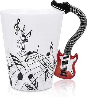 LanHong - 13.5 oz Musical Notes Design Guitar Coffee Mugs Drink Tea Milk Coffee Mug Ceramic Music Cup Gift for Friend (Red)