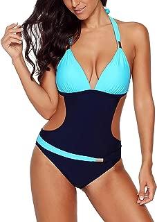 Women's High Waisted Halter Color Block One Piece Monokini Swimsuit Cutout Bathing Suit