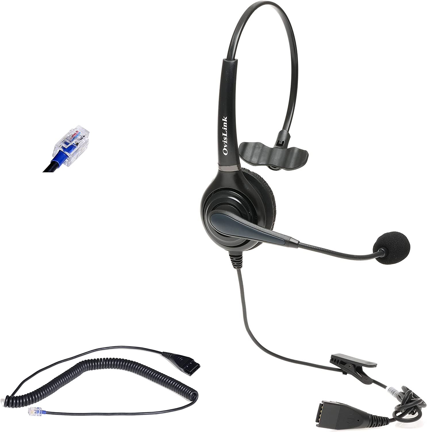 NEC Phone Headset   Flexible & Rotatable Microphone Headset   Noise Canceling Microphone Headset Compatible with All NEC Telephones   RJ9 Headset Quick Disconnect Cord Included   HD Voice