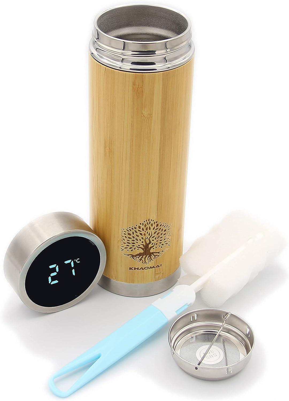 Botella isotérmica de bambú con indicador de temperatura, tapón LED, botella termo de madera, botella isotérmica ecológica, botella de acero inoxidable, termo de café, infusor de té