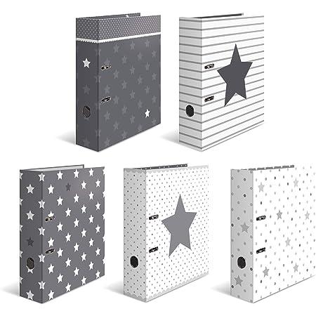 HERMA Motif classeur à levier A4 Étoiles assortiment, dos de 7 cm, en carton robuste, imprimé entièrement à l'extérieur et à l'intérieur, lot de 10