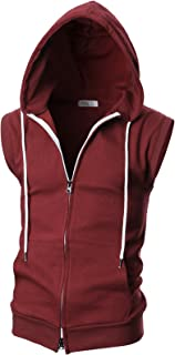 OHOO Mens Slim Fit Sleeveless Lightweight Zip-up Hooded Vest with Zipper Trim