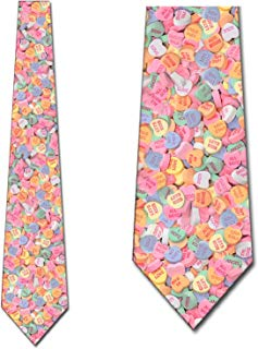 Valentines Day Ties Candy Heart Mens Necktie by Three Rooker