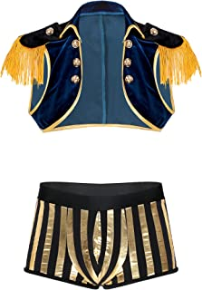 Kaerm Men Pirate Costume Halloween Cosplay Outfit Open Front Tassel Velvet Crop Top with Shiny Striped Shorts