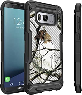 Untouchble Case for Samsung Galaxy S8 Plus Case, S8 Plus Holster Case [Tactical Armor] Black Case Heavy Duty Protector with Swivel Holster [Shockproof] - Snow Tree Camo Hunting