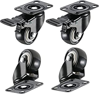 """bayite 4 Pack 2"""" Heavy Duty Caster Wheels Polyurethane PU Swivel Casters with 360 Degree Top Plate 220lb Total Capacity for Set of 4 (2 with Brakes& 2 Without) Black"""
