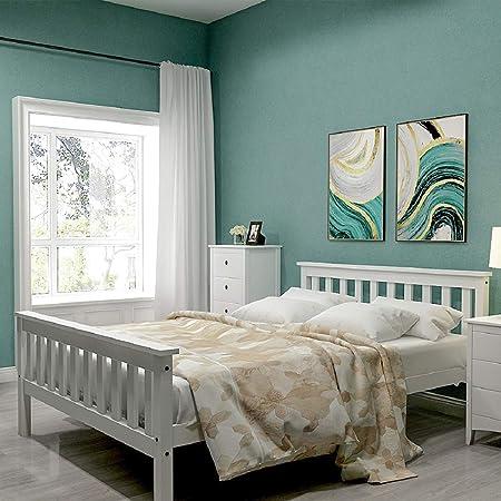 Lit en bois 140 x 200 cm, jusqu'à 200 kg, lit double avec sommier à lattes, cadre de lit double en bois massif avec tête de lit uniquement (blanc – 200 x 140 cm)
