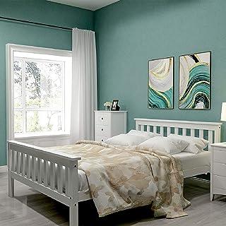 Lit en bois 140 x 200 cm, jusqu'à 200 kg, lit double avec sommier à lattes, cadre de lit double en bois massif avec tête d...