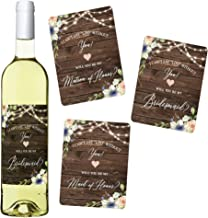 Set of 8 Rustic Floral Will You Be My Bridesmaid Wine Labels, Includes: 6 Bridesmaid Wine Labels, 1 Maid of Honor Wine Label, 1 Matron of Honor Wine Label