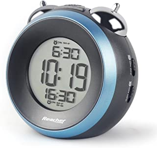 REACHER Twin Bell Alarm Clock with Dual Alarm, Optional Weekday Alarm, Snooze, Backlight, Battery Operated