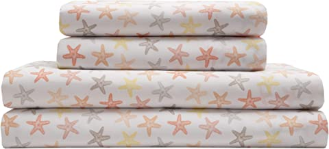 Elite Home Products Inc. Coastal Microfiber Print Sheet Sets, Seastar-Coral, California King