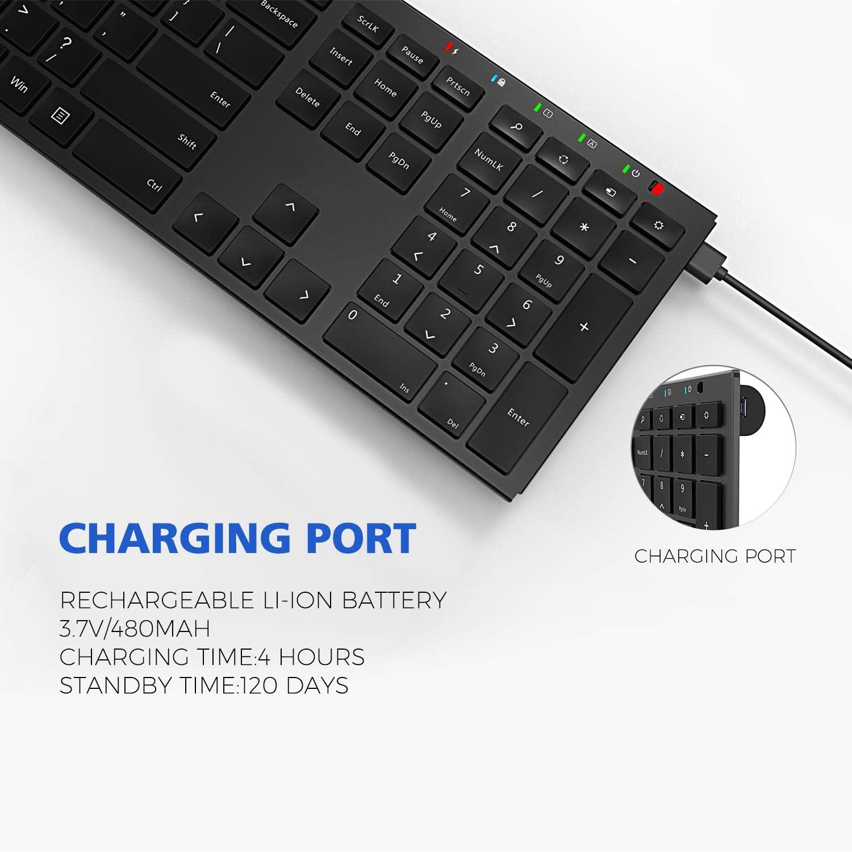 Wireless Keyboard Mouse Combo, cimetech Compact Full Size Wireless Keyboard and Mouse Set (KF001 Black)