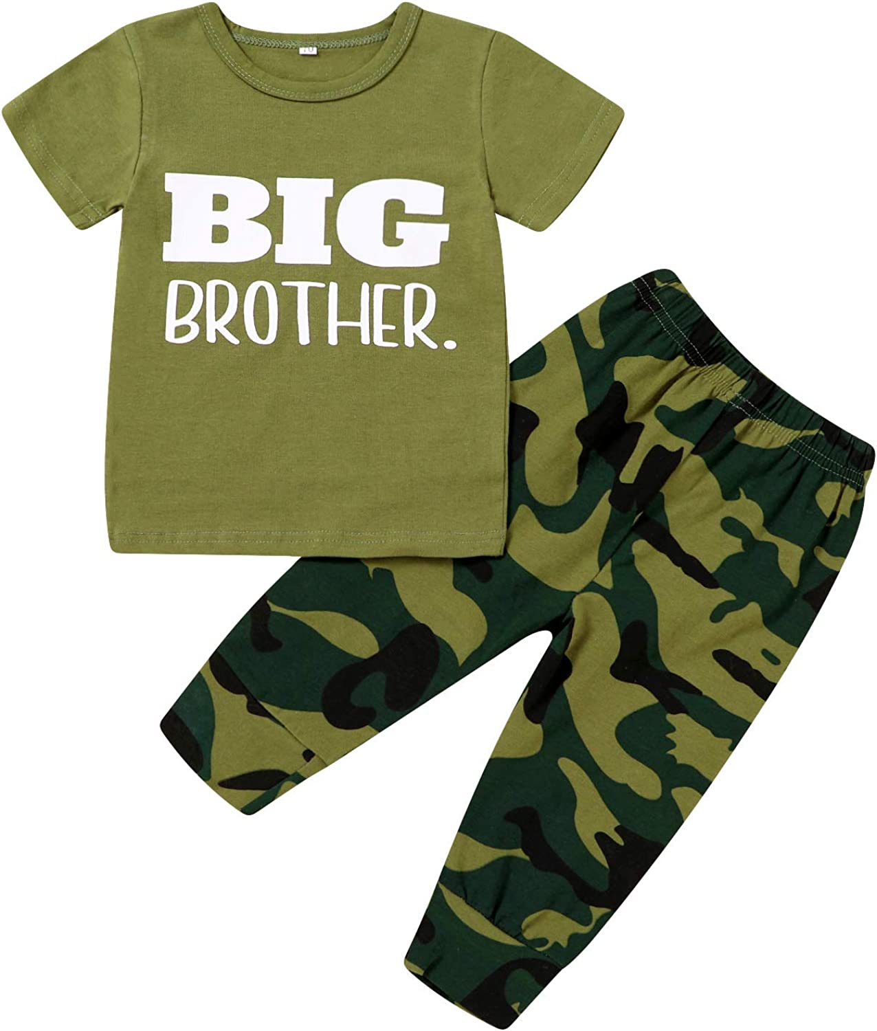 Newborn Baby Boy Girl Clothes Little Brother/Sister Letter Print Romper + Camouflage Pants 3Pcs Infant Outfit Set