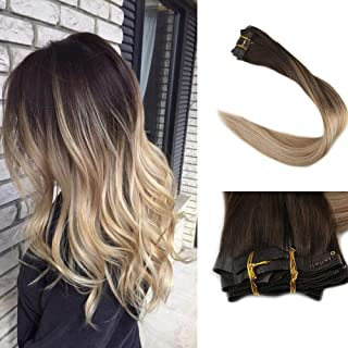 Full Shine 8 Pcs 14Inch 120 Grams Invisible Extensions Balayage Clip in Remy Hair Extensions Dip Dyed Color #2 Fading to #8 Highlighted With Color #22 Blonde Seamless Clip in Extensions