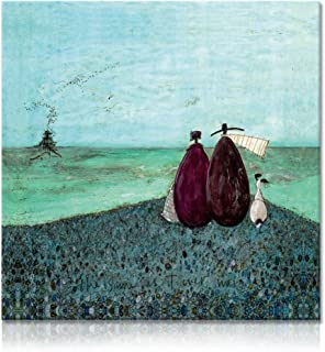 """Picabala Vintage Aqua Canvas Painting Abstract Wall Art-Lovely Couple and Dog No Frame Warm Picture Realism HD Giclee Decorative Wall Painting for Home Decor-12""""×12""""(No Frame)"""