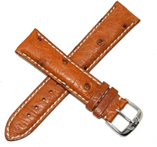 Jacques Lemans 23MM Honey Brown Genuine Ostrich Leather Skin Watch Strap Band with Silver Tone JL Initial Stainless Steel Buckle