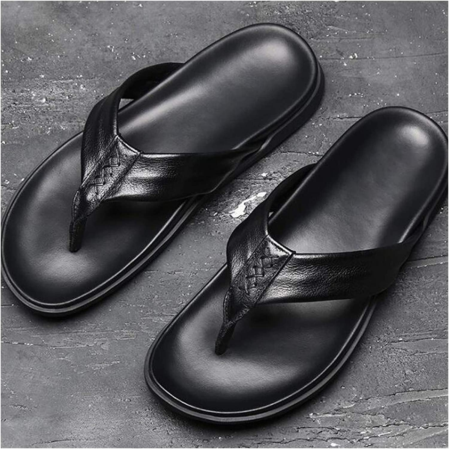 Wood-1 Men Summer Real Leather Flip Flop Slippers Boys Casual Sandals Leisure Man Touring shoes