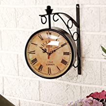 Efinito Wall Clock Double Sided 12 Inch Dial Vintage Antique Black Station Double Sided Wall Clock