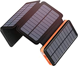 Solar Charger 25000mAh, SOARAISE Power Bank with 4 Solar Panels and USB Type-C Port Waterproof Battery Pack for Smartphone, Tablet and Camping