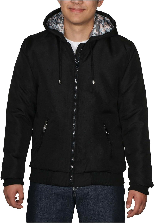 Men's Hooded Quilted Modern Fit Utility Jacket Coat-Black